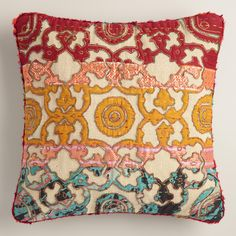 Crafted in India using intricate sari appliques, our exclusive throw pillow is a sumptuous accent with a comfortable woven texture. www.worldmarket.com #WorldMarket #FallHomeRefresh
