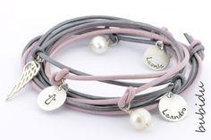 Namensarmbänder - 925 Silber Armband Gravur, Familienarmband Namen - ein Designerstück von bubidu bei DaWanda