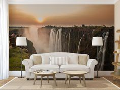 Waterfall sunrise MURAL self adhesive peel and by ZestPhotography