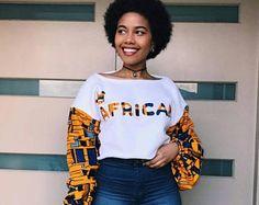 African Print crop sweatshirt , Crop Top jumper, Women's sweats African Fashion Ankara, African Fashion Designers, African Print Dresses, African Print Fashion, Africa Fashion, African Dress, African Prints, African Attire, African Wear