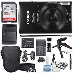 Canon PowerShot ELPH 190 IS Digital Camera (Black) with 10x Optical Zoom and Built-In Wi-Fi with 32GB SDHC + Flexible tripod + AC/DC Turbo Travel Charger + Replacement battery + Protective camera case Price: $179.00 #technology >#mobiecharger >>#phoneaccessories>>>#computeraccessories > Follow us @fastmart24 #fastmart24