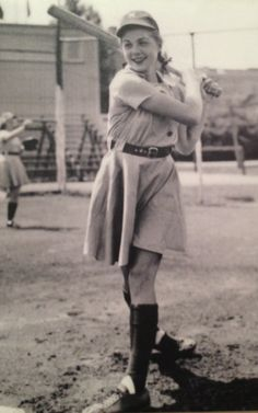 "The youngest player in AAGPBL history, Dorothy ""Dottie"" Schroeder was 15 years old when she started her professional baseball career with the South Bend Blue Sox. She holds the record for most games played (1,249) and was the only to play in all 12 seasons of the AAGPBL. She racked up the most career RBIs in the league with 431, and was also a stellar shortstop described as a ""vacuum."" (Photo by Zim via the Louisville Slugger Museum)"