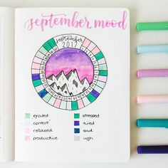 I am back! Hello friends and happy Sunday since I have been away from Instagram and am therefore shockingly behind on this month's setup, here is last month's mood wheel thingy all filled in ☺ love how this turned out!