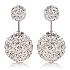 15colors Available High Quality Drop shipping Hot Sale On Aliexpress Big and Small Double Crystal Stud Earrings For Women 2016