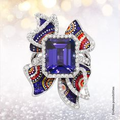 On one side, a lone precious gem. On the other, the Intense three-dimensionality of micromosaic miniatures. Together, a vibrant piece of the new Tesserae collection. Jewelry Design Drawing, Designs To Draw, Sapphire, Vibrant, Miniatures, Gems, Jewels, Rings, Collection