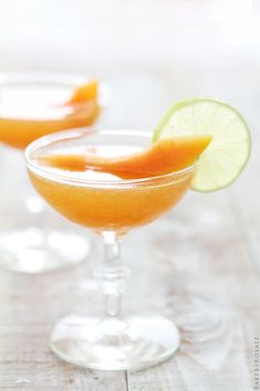Cantaloupe Daiquiri 2 ounces light rum 1 ounce fresh lime juice 1 teaspoon simple syrup or superfine sugar 3 oz. cantaloupe, pureed Directions: Place ingredients in a cocktail shaker & vigourously shake until well blended. Cocktails To Try, Cocktail Desserts, Cocktail Drinks, Cocktail Recipes, Margarita Recipes, Drink Recipes, Fall Recipes, Baking Recipes, Party Drinks
