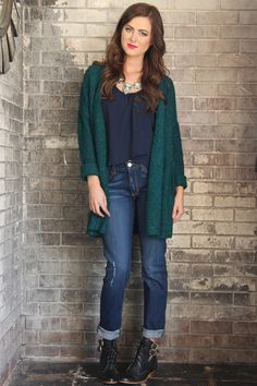 Winter Teal Open Cardigan