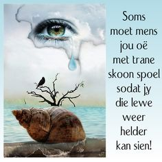 Soms moet mens jou oë met trane skoon spoel sodat jy die lewe weer helder kan sien! Sad Quotes, Daily Quotes, Qoutes, Afrikaanse Quotes, Biblical Womanhood, The Secret Book, Daily Motivation, Friendship Quotes, About Me Blog