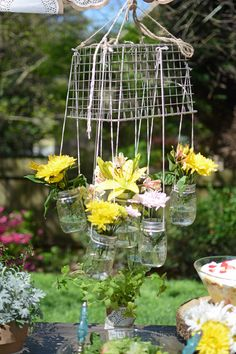 Mason Jar Flower Chandelier! | Hometalk
