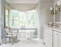 "I want this bathroom! Wall paint (""Light Blue"" #22): Farrow & Ball,   Ceiling and trim paint (""Silver Lining"" #32-32): Pratt & Lambert Flooring (2-inch hexagonal white marble): Renaissance Tile & Bath renaissancetileandbath dot com."