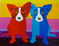 "George Rodrigue ""blue dog"" paintings - warm/cool colors - drawing and painting Blue Dog Painting, Buffalo Painting, Blue Dog Art, Dog Cafe, Warm And Cool Colors, Pet Rocks, Dog Paintings, Colorful Drawings, Dog Portraits"