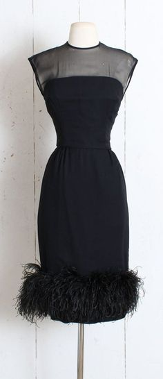 f520130538 Vintage 1950s Dress vintage 50s 60s black illusion wiggle