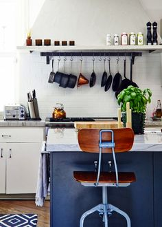 #kitchen, #organization, #storage, #cookware, #shelf, #kitchen-island    View entire slideshow: 17 Kitchen Organization Tips & Tricks on http://www.stylemepretty.com/collection/240/