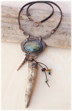 Copper and Antler Talisman necklace: by AnniamAeDesigns on Etsy