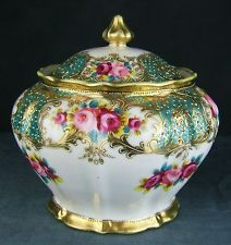 Fine large hand painted & gilded Noritake covered pot.