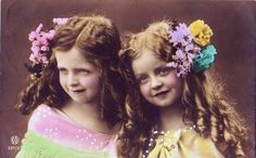 Vintage~ sweet girls, tinted photo...