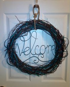 turquoise welcome wreath