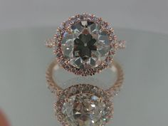 Josh Levkoff - Collection, Rings - 14K Rose Gold Ring with Round Center Diamond & Halo