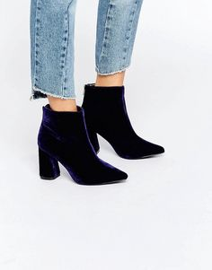 Be the center of attention with this Daisy Street Velvet Point Heeled Ankle Boots.