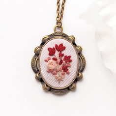Red Flower Pendant. Embroidery Necklace. by OhMyHeartEmbroidery