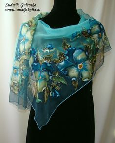 Natural silk shawl floral turquoise blue hand by Studijakalla