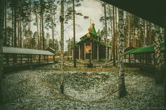 Ganina Yama, Ekaterinburg : The depression in the ground is the old mine where the bodies of the Imperial family and their loyal servants were thrown into after they were murdered. There is now a monastery located on the grounds surrounding the mine, with chapels dedicated to each of the members of the Imperial family.