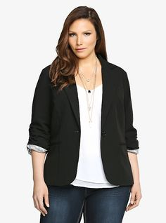 Ruched Sleeve Blazer, RICH BLACK