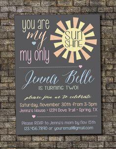 You Are My Sunshine Birthday Invitation, Rainbow Girl Birthday Party Invitation, First Birthday, Second Birthday 5x7 - Custom Printable by PurplelephantDesigns on Etsy https://www.etsy.com/listing/207892741/you-are-my-sunshine-birthday-invitation