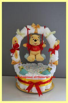 Gâteau de couches balançoire cadeau naissance baptême : Décoration pour enfants par les-choupinous