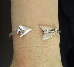 Hammered Silver Arrow Bangle Cuff