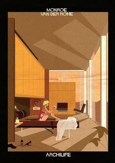 Illustration depicting Marilyn #Monroe lounging inside #Mies van der #Rohe's Farnsworth House