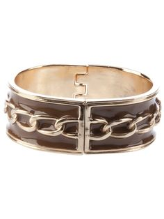 Gold tone 'Lorena' cuff from Semi Couture featuring brown enamel style finish, hinged centre and chain pattern.