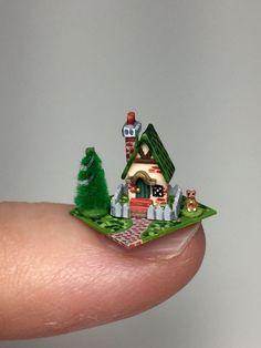 OOAK Miniature Dollhouse Tudor Cottage Tiny Cat Handcrafted Micro Doll House | eBay
