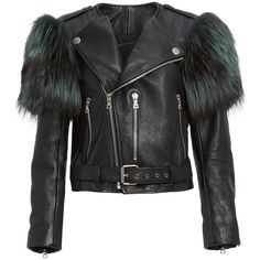 Women's Marc Jacobs Leather Moto Jacket With Genuine Fox Fur Trim found on Polyvore featuring outerwear, jackets, genuine leather biker jacket, motorcycle jackets, moto jacket, rider jacket and leather jackets