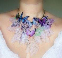 Fluttery Breath of Life Necklace- 3  Transfer on Organza Made to Order