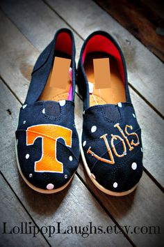 Tennessee Vols Hand Painted Canvas Shoes TN by LollipopLaughs