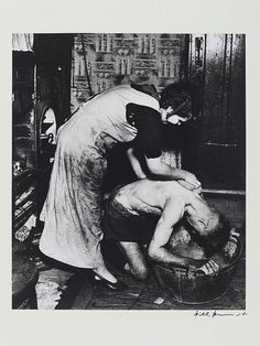 Bill Brandt (born Hermann Wilhelm Brandt) (British photographer and photojournalist) 1904 - 1983 Coal-miner's Bath, Chester Le Street, 1937 North East England, Durham England, Bill Brandt, Durham County, High Contrast Images, Moving To England, Coal Miners, Alfred Stieglitz, Family Genealogy