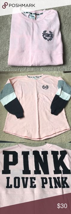 Victoria Secret PINK Sweatshirt Pink Victoria Secret sweating! Worn once! Washed and hung to dry! PINK Victoria's Secret Tops Sweatshirts & Hoodies