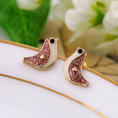 """$9.99 USD  European Style Cute Brid Rhinestone Earrings Studs Size: Height: 0.8CM(0.31"""" ) Width: 1.3CM(0.51"""" )  Style: European Style  Color: As Picture  Material: Alloy"""