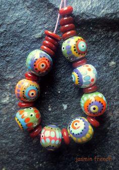 jasmin french ' nairobi ' lampwork beads set by jasminfrench
