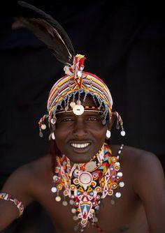 Samburu warrior with beaded headdress and feather - Kenya༻神*ŦƶȠ*神༺