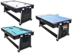 Charming 3 In 1 Table Air Hockey, Ping Pong, U0026 Pool Table