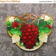Antique Sterling Silver Cloisonne Red Grapes Brooch Art Nouveau Enamel Pin Circa 1910  This is a stunning solid sterling silver and enamel…