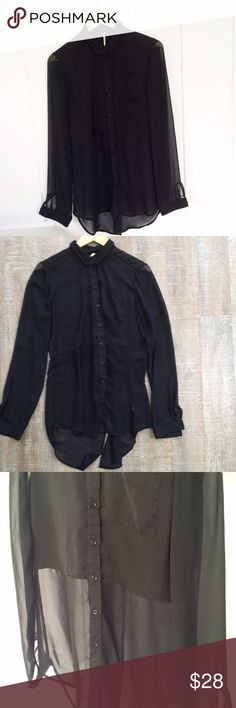 FLASH SALE! Free People long half-sheer blouse Gently used condition! Free People long, long sleeve blouse w sheer sleeves and sheer bottom half (see photos). 100% polyester. Size M. Offers welcome! Free People Tops Blouses