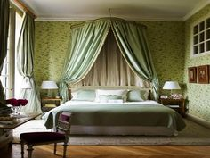 Elegant traditional classic bedroom styling. Fabric canopy. Exceptional Loire Valley French Chateau for Sale with 15 Bedrooms 186255