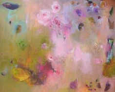 Original Floral  Abstract Painting BLOOMING MEADOW  on Stretched Canvas 19,5 x 16