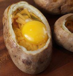 Egg-stuffed baked potatoes for camping  11 creative camp-food recipes that will make you forget you're roughin' it: http://hellawella.com/11-creative-camp-food-recipes-will-make-you-forget-you%26amp%3Brsquo%3Bre-roughin%26amp%3Brsquo%3B-it