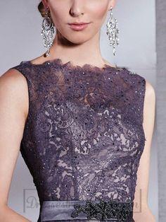 Neck Belt Embroidered Chiffon Sleeveless Applique Embellished Prom Dress