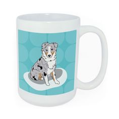 Funny Australian Shepherd Walk the Dog Mug    This coffee mug celebrates the morning dog walk ritual. On one side is an original dog portrait of an