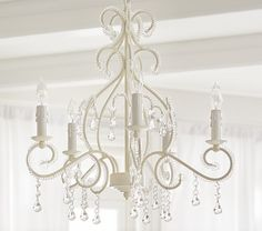 Kids chandelier lighting bedroom chandeliers pottery barn kids white lydia chandelier girls bedroom aloadofball Choice Image